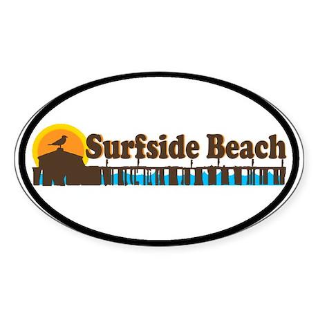 Surfside Beach SC - Pier Design Oval Sticker