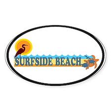 Surfside Beach SC - Beach Design Oval Decal
