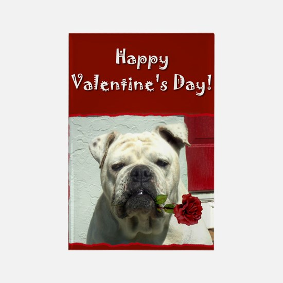 Romantic Bulldog Rectangle Magnet