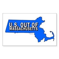 U.S. OUT OF MASSACHUSETTS Rectangle Decal