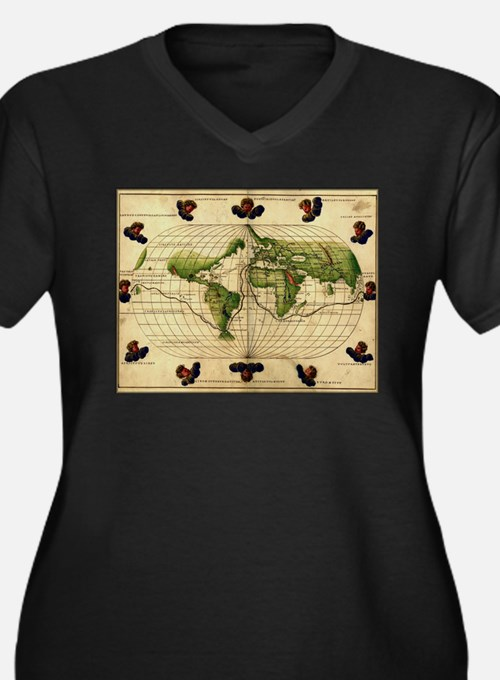 """1544 World Map"" Women's Plus Size Tee"