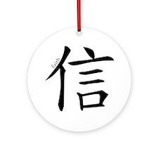 Faith, Hope & Love (Chinese Symbol) Ornament (Roun