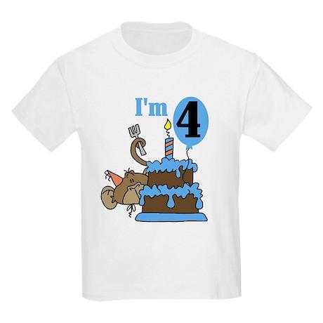 Monkey with Cake 4th Birthday Kids Light T-Shirt