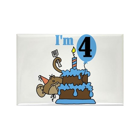 Monkey with Cake 4th Birthday Rectangle Magnet