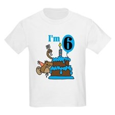 Monkey with Cake 6th Birthday T-Shirt