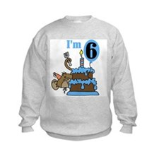 Monkey with Cake 6th Birthday Sweatshirt