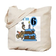 Monkey with Cake 6th Birthday Tote Bag