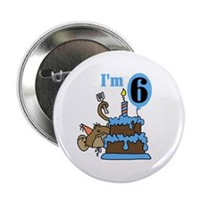"""Monkey with Cake 6th Birthday 2.25"""" Button"""