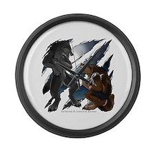 Werewolf Fight Large Wall Clock