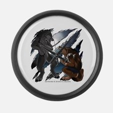 Werewolf Fight Large Wall Clock
