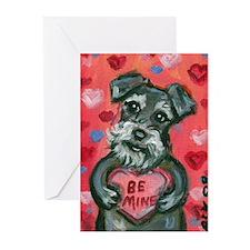 Schnauzer Be Mine Valentine Greeting Cards (Pk of