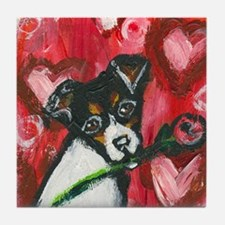 Rat Terrier Valentine rose Tile Coaster