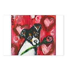 Rat Terrier Valentine rose Postcards (Package of 8
