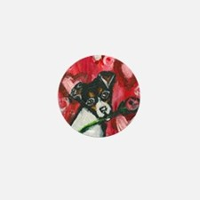 Rat Terrier Valentine rose Mini Button