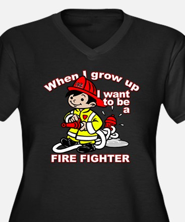 When I grow up Firefighter Women's Plus Size V-Nec