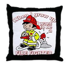 When I grow up Firefighter Throw Pillow