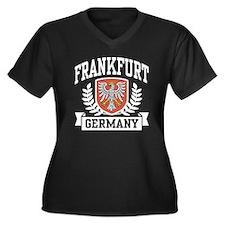 Frankfurt Germany Women's Plus Size V-Neck Dark T-