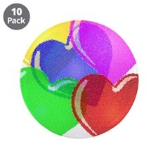 """The hearts of different color 3.5"""" Button (10 pack"""