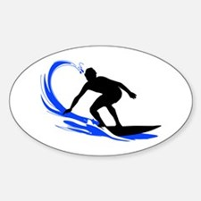 Wave Surfing Oval Bumper Stickers