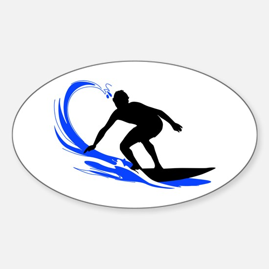 Wave Surfing Oval Stickers