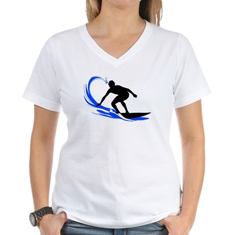 Wave Surfing Women's V-Neck T-Shirt