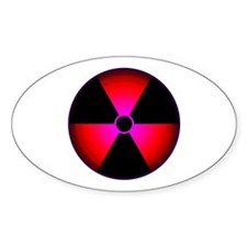 Red Radiation Symbol Oval Decal