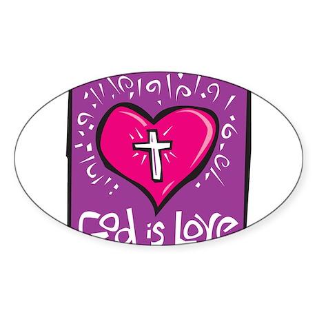 God is love Oval Sticker