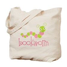 Cute Pink Bookworm Tote Bag