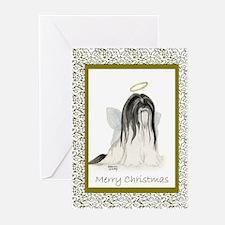 Lhasa Apso White Black Painting Christmas Card