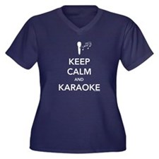 Keep Calm & Karaoke Women's Plus Size V-Neck Dark