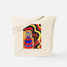 Arty Retro Cat Tote Bag