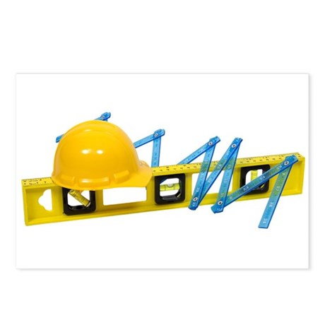 Hard Hat Level Construction Postcards (Package of