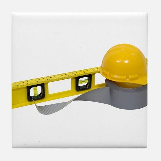 Hard Hat Tools Tile Coaster