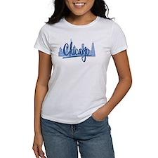 Chicago Skyline and Dark Blue Script Tee