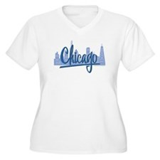 Chicago Skyline and Dark Blue Script T-Shirt