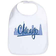 Chicago Skyline and Dark Blue Script Bib