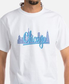 Chicago Light Blue Script in Skyline Shirt