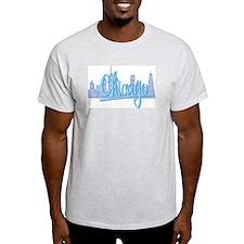 Chicago Light Blue Script in Skyline T-Shirt
