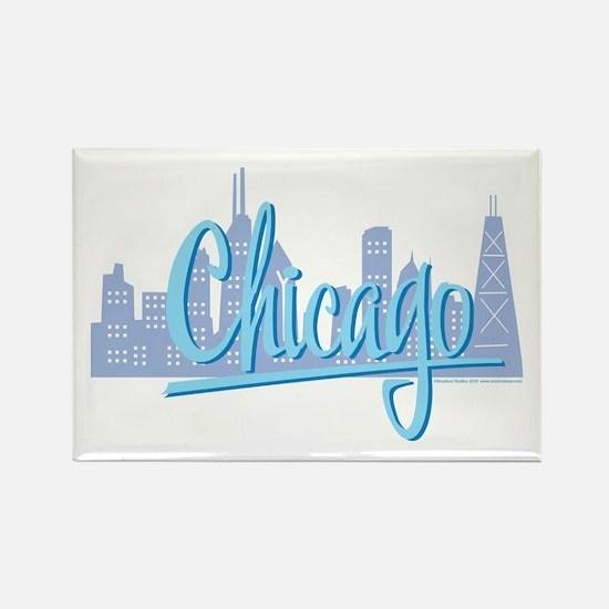 Chicago Light Blue Script in Skyline Rectangle Mag