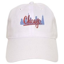 Chicago Skyline and Red Script Baseball Cap