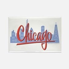Chicago Skyline and Red Script Rectangle Magnet