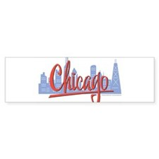 Chicago Red Script in Skyline Bumper Bumper Sticker