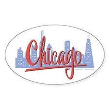 Chicago Red Script in Skyline Oval Decal