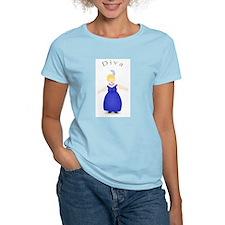 Blond Diva in Blue Dress T-Shirt