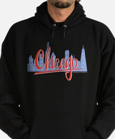 Chicago Red Script in Skyline Hoodie