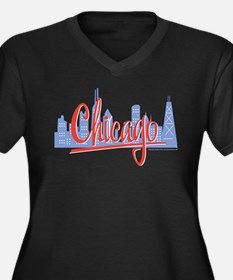 Chicago Red Script in Skyline Women's Plus Size V-