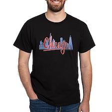 Chicago Red Script in Skyline T-Shirt