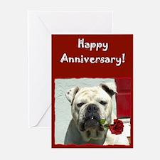 Happy Anniversary Bulldog Greeting Cards (Pk of 20