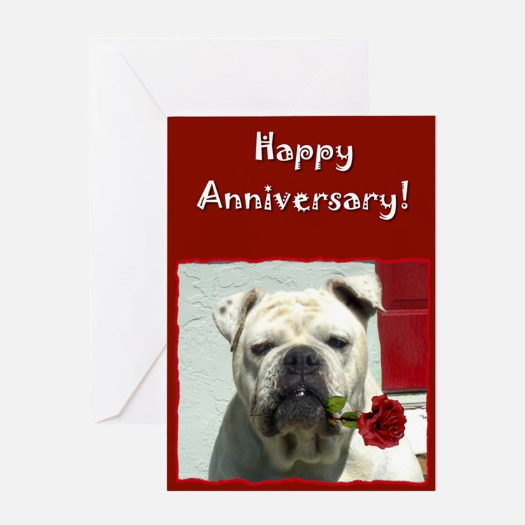 Happy Anniversary Bulldog Greeting Card