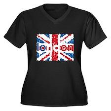UK Flag - London Women's Plus Size V-Neck Dark T-S